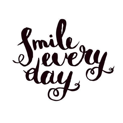 Sourire tous les jours. Affiche de citation monochrome inspirante. vecteur