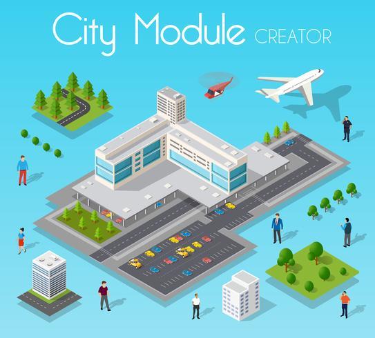 Module de jeu isométrique ville avec un aéroport vecteur