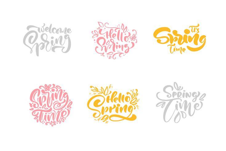 Ensemble de six phrases de calligraphie pastel printanières vecteur