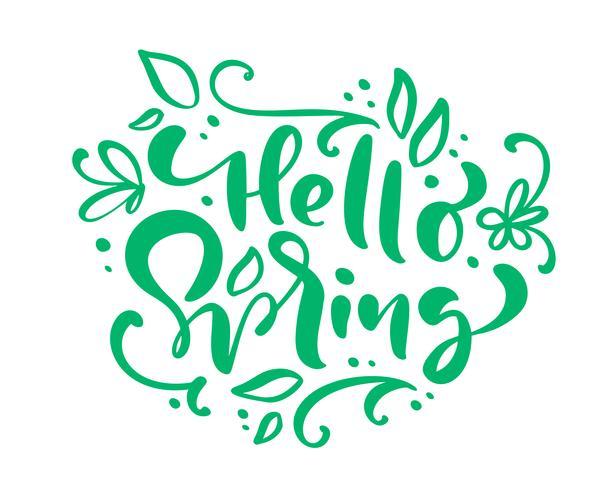 Hello Spring lettrage calligraphie Hello Spring vecteur