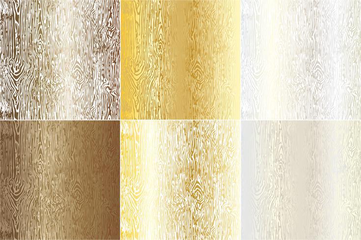 Textures de grains de bois métalliques vecteur