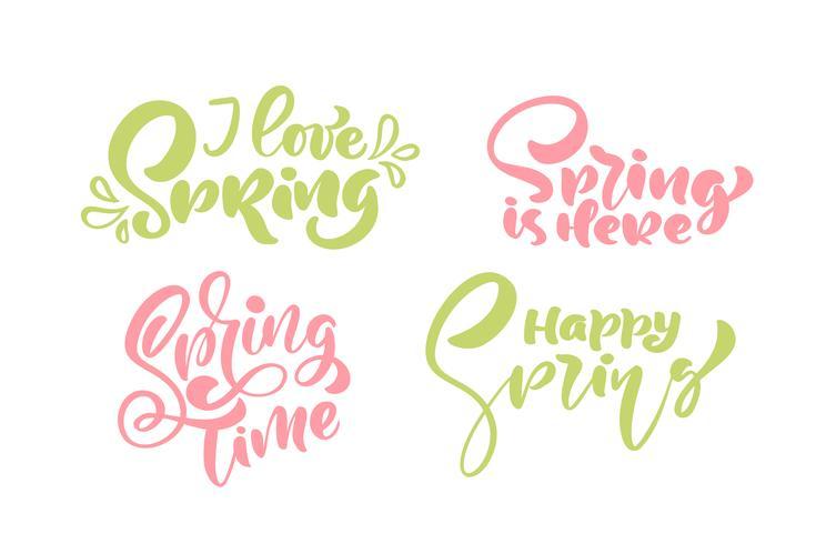 Ensemble de six phrases de calligraphie j'aime le printemps pastel vecteur