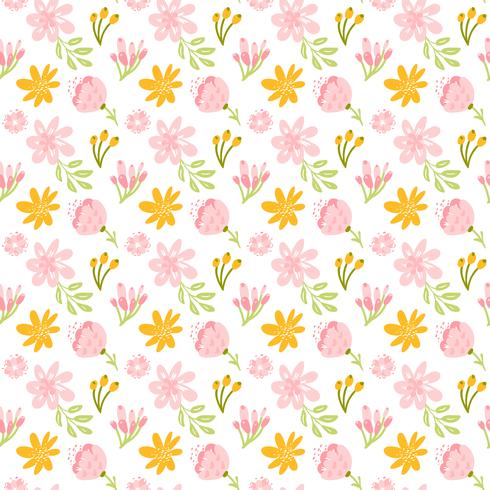 Modèle seamless Vector avec bouquet de fleurs et feuilles