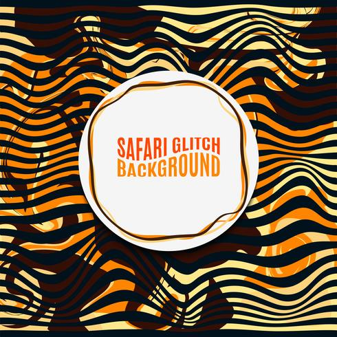 Fond de glitch Safari à rayures orange. vecteur