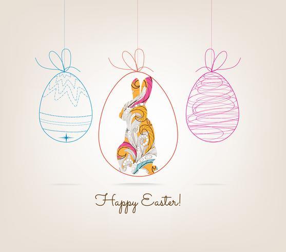 Joyeuses Pâques avec cadre photo de lapin floral doodle vecteur