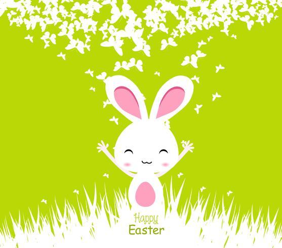 Heureuse illustration de cartes de Pâques avec le lapin de Pâques vecteur