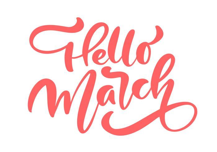 Lettrage calligraphique rose bonjour mars vecteur