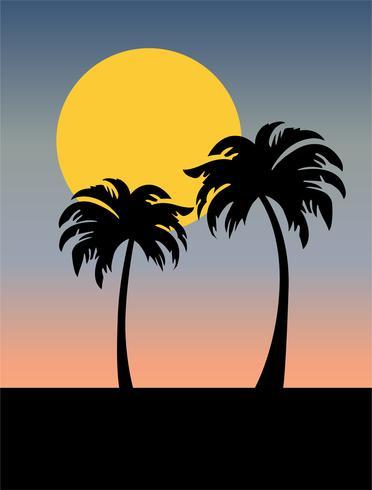 silhouette d'arbres de palmiers avec coucher de soleil dégradé vecteur