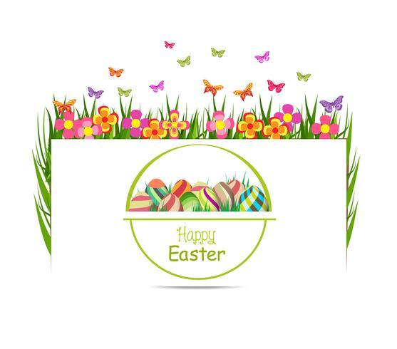 printemps oeuf de Pâques avec carte de voeux herbe et papillon vecteur