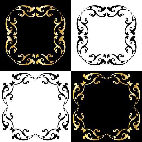 cadres de défilement or et noir vecteur