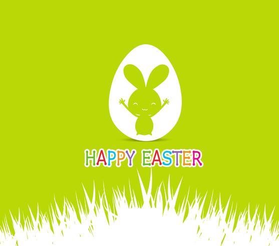 Illustration de cartes de Pâques Joyeux avec lapin de Pâques à l'intérieur de l'oeuf vecteur