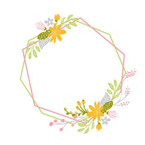 Couronne de printemps géométrique avec fleur vecteur