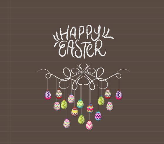 Joyeuses Pâques, oeufs colorés vecteur