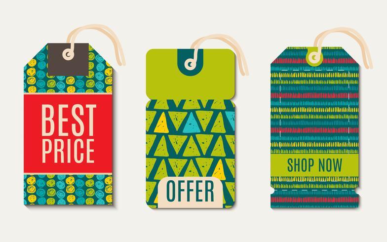 Étiquettes de vente Design tendance couleur flash verte. vecteur