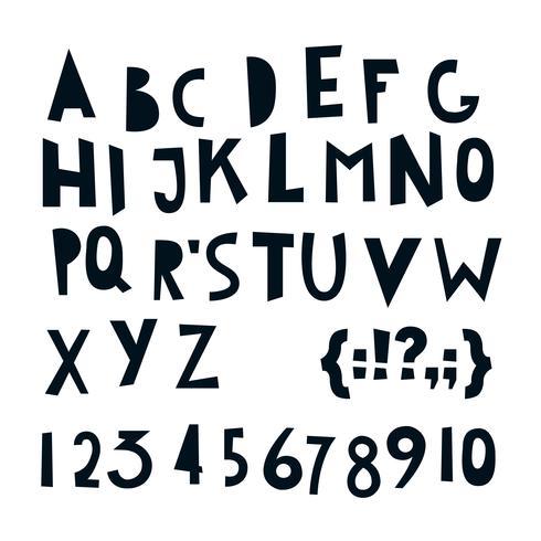 ABC lettres et chiffres latins. vecteur