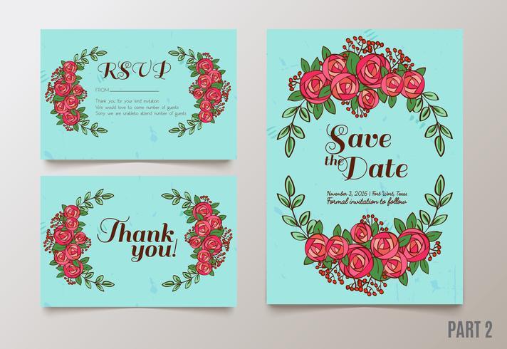 sauvez l'invitation de date, RSVP et les cartes de remerciement. vecteur