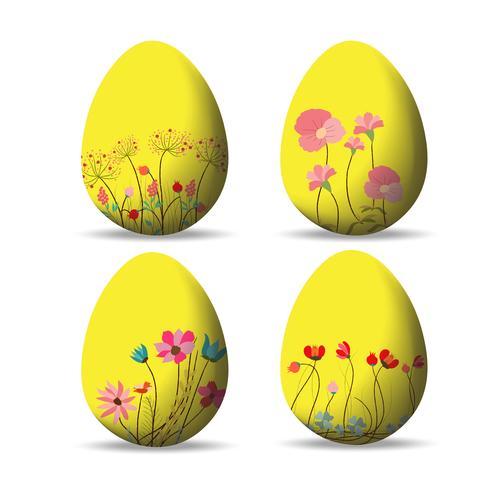 Définir des oeufs de Pâques et Joyeuses Pâques vecteur