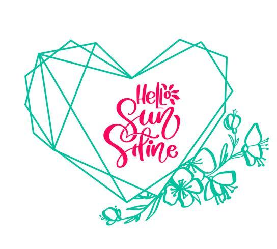 Carte d'élément de conception verte fleur Vector avec texte Hello Sunshine