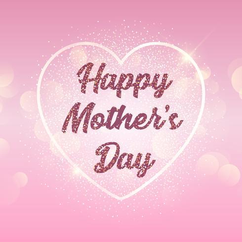 Fond de fête des mères avec coeur sur les lumières de bokeh vecteur