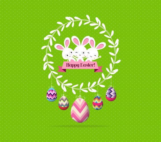 Oeufs de Pâques colorés et lapin dans le monde entier vecteur