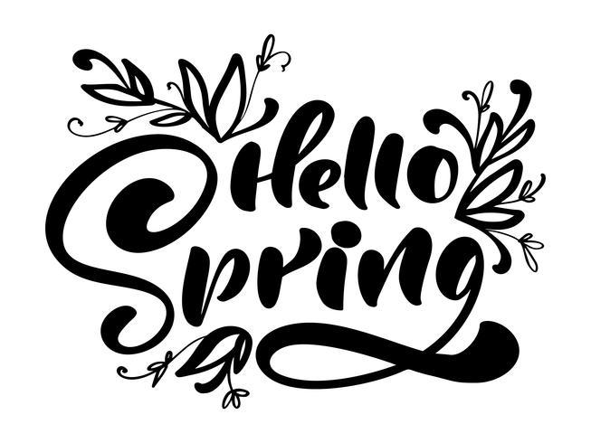 Calligraphie lettrage phrase Bonjour printemps vecteur