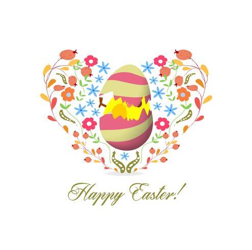 Belle carte de joyeuses Pâques avec couronne florale vecteur