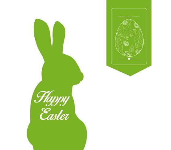 Joyeuses Pâques typographiques et oeufs étiquette fond vecteur