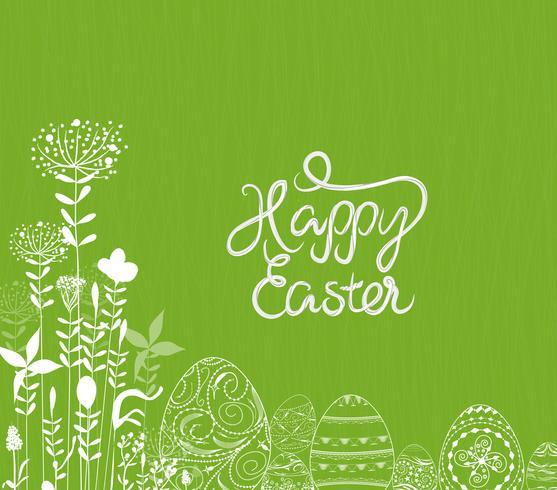 Oeuf de Pâques blanc abstrait sur fond vert vecteur