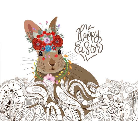 lapin de Pâques doodle fond d'ornement floral vecteur