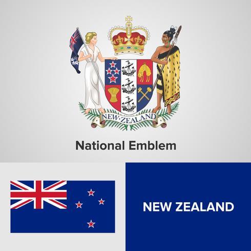 Emblème national de Nouvelle-Zélande, carte et drapeau vecteur
