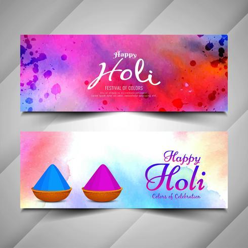 Ensemble de bannières de célébration du festival Holi vecteur
