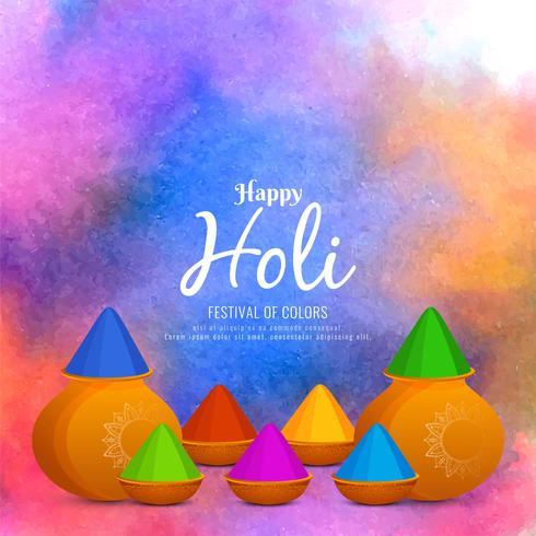 Design de fond abstrait coloré Happy Holi voeux vecteur