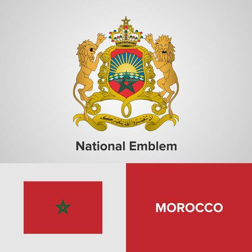 Emblème national du Maroc, carte et drapeau vecteur