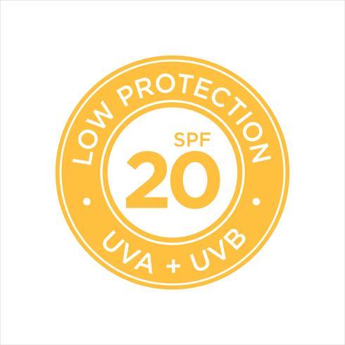 Protection UV, protection solaire, faible SPF 20 vecteur