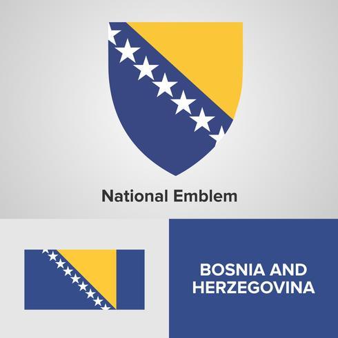 Emblème national de Bosnie-Herzégovine, carte et drapeau vecteur