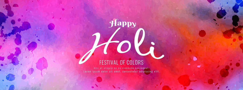 Happy Holi belle conception de bannière décorative vecteur