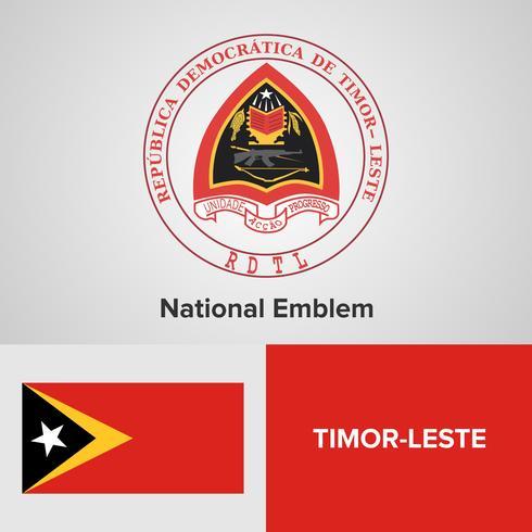 Emblème national du Timor-Leste, carte et drapeau vecteur