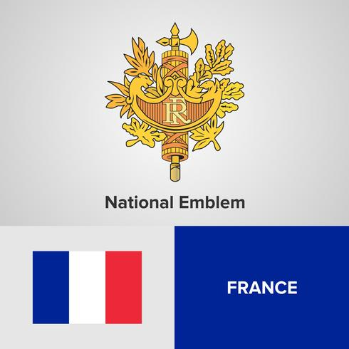 Emblème national de France, carte et drapeau vecteur