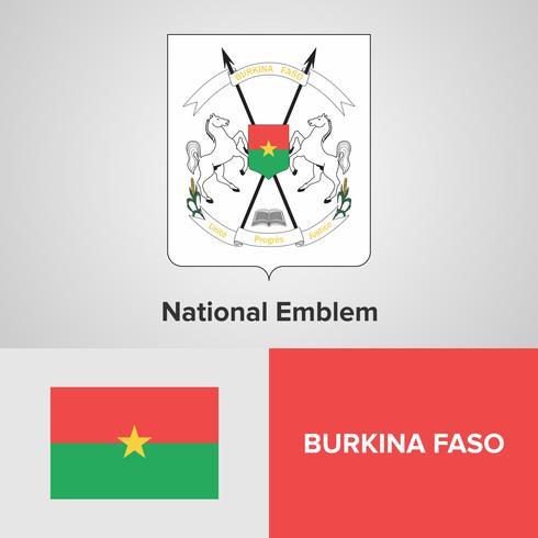 Burkina Faso Emblème national, carte et drapeau vecteur