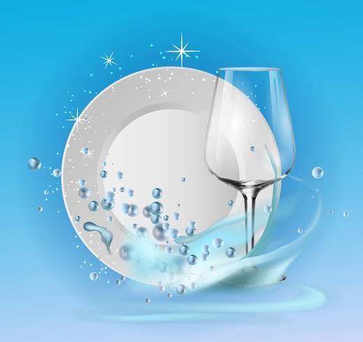 Une assiette propre et un verre à vin en bulles de savon et éclaboussures d'eau. vecteur