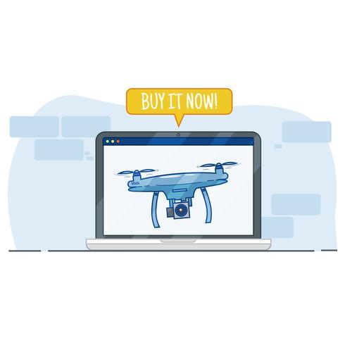 Acheter drone dans la boutique en ligne. Publicité dans la fenêtre du navigateur. Illustration de plat Vector