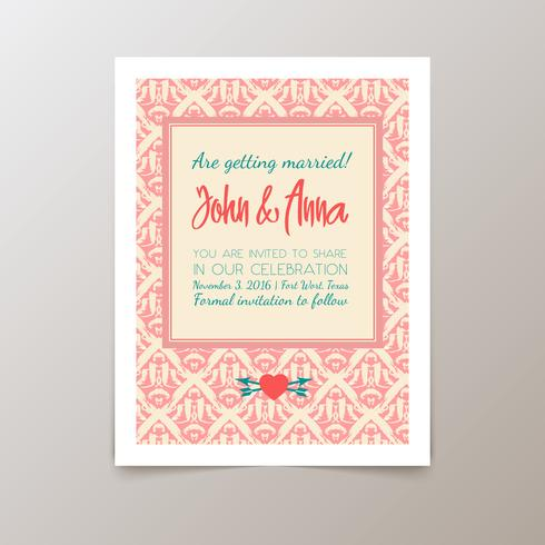 Carte d'invitation de mariage avec vintage géométrique vecteur