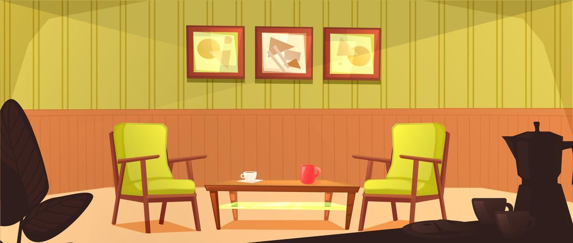 L'intérieur de la salle de la cafétéria. Design rétro du fauteuil et de la table basse avec des tasses. Meubles en bois dans un café. Illustration de dessin animé de vecteur