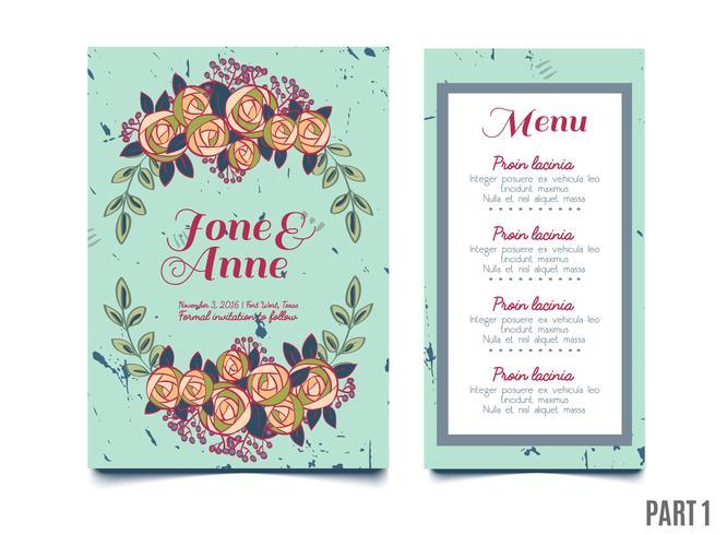 mariages, sauvegarder l'invitation de date, RSVP et cartes de remerciement. vecteur