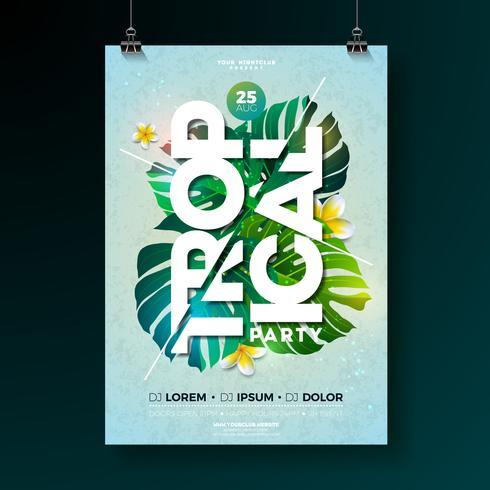 Conception de flyers fête tropicale vecteur