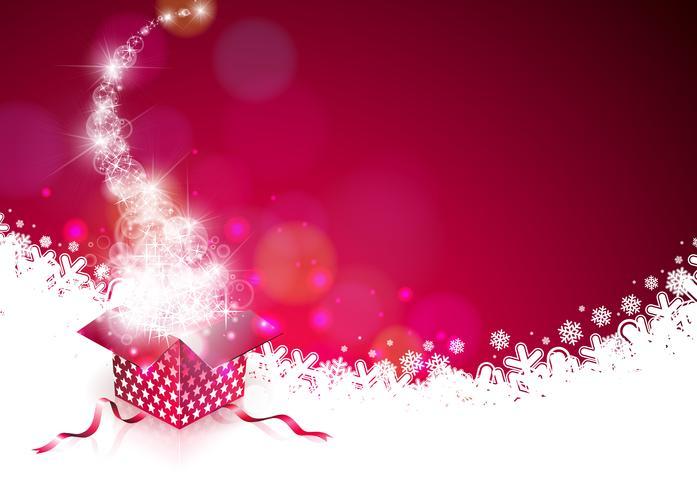 Illustration de Noël avec coffret magique vecteur