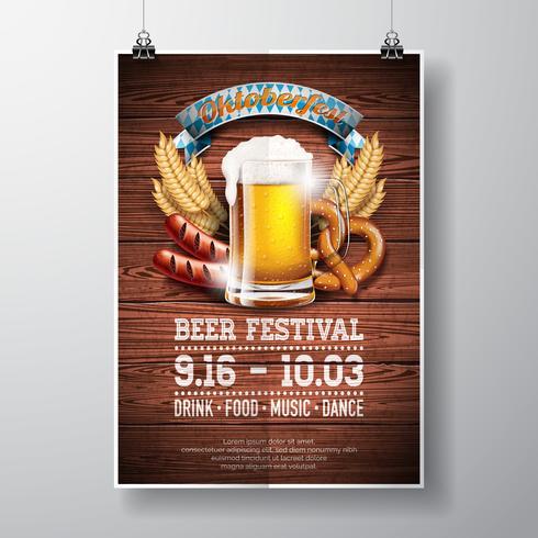 Illustration vectorielle affiche Oktoberfest avec une bière lager fraîche sur fond de texture du bois. vecteur