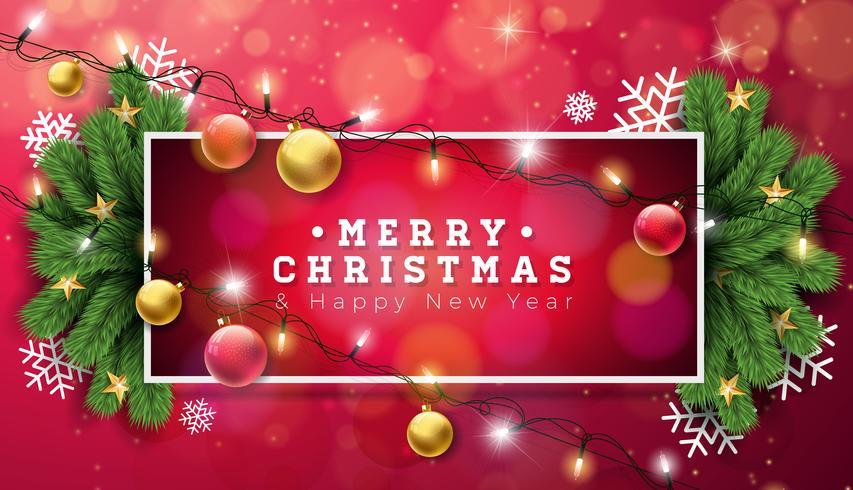 Joyeux Noël Illustration avec guirlande lumineuse de vacances vecteur
