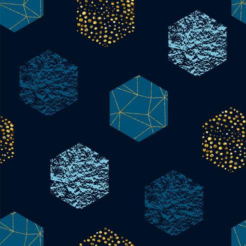 Motif abstrait géométrique sans soudure répéter avec hexagones et texture de paillettes. Textures dessinées à la main à la mode. vecteur