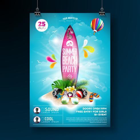 Conception de flyers de Summer Beach Party vecteur
